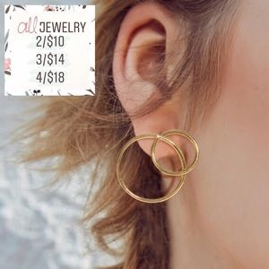 "2/$10 ""Ari"" Dainty Double Circle Link Hoop Earring"